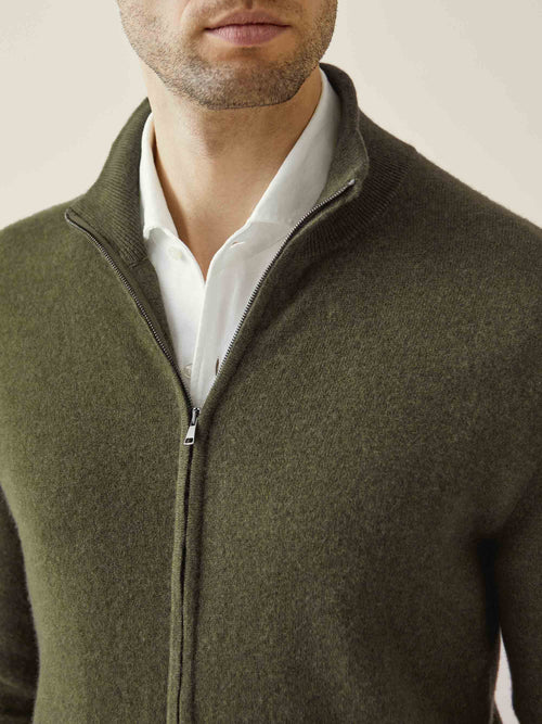 Luca Faloni Hunting Green Pure Cashmere Zip Cardigan Made in Italy