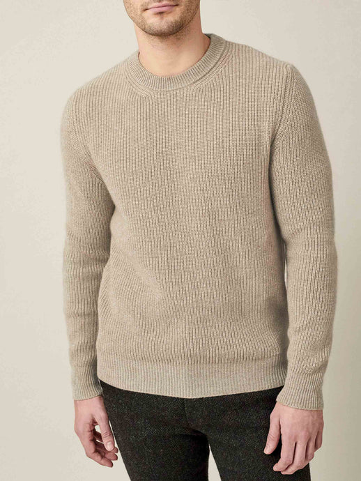 Luca Faloni Camel Beige Chunky Knit Cashmere Crew Neck Made in Italy