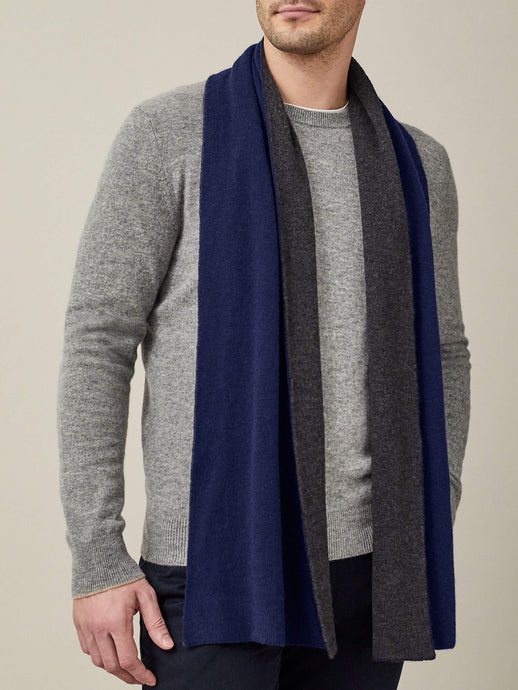 Luca Faloni Navy and Charcoal Double-Faced Cashmere Scarf Made in Italy