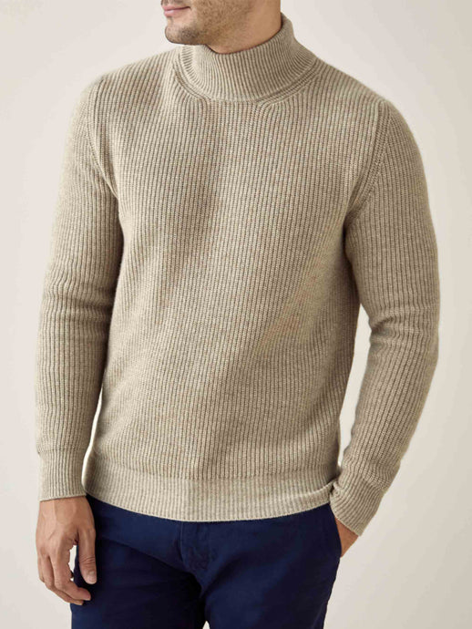 Luca Faloni Camel Beige Chunky Knit Cashmere Mock Neck Made in Italy