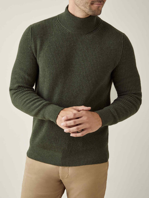 Luca Faloni Hunting Green Chunky Knit Cashmere Mock Neck Made in Italy