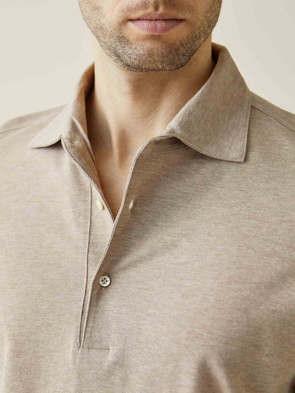 Luca Faloni Oatmeal Brera Polo Shirt Made in Italy