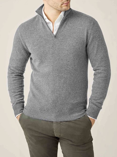 Luca Faloni Dolomiti Grey Pure Cashmere Zip-up Made in Italy