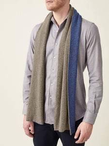 Luca Faloni Blue and Brown Double-Faced Cashmere Scarf Made in Italy
