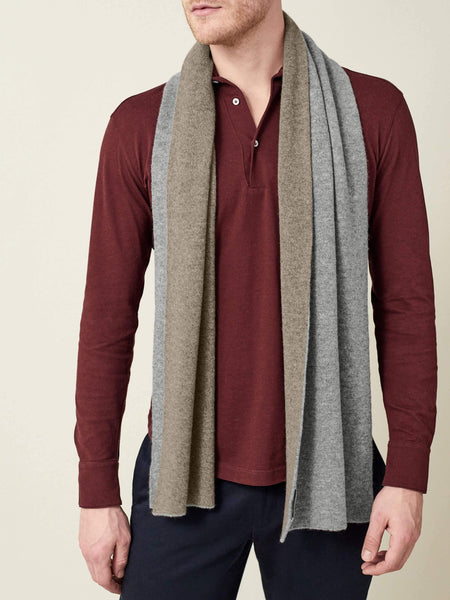 Grey and Brown Double-Faced Cashmere Scarf
