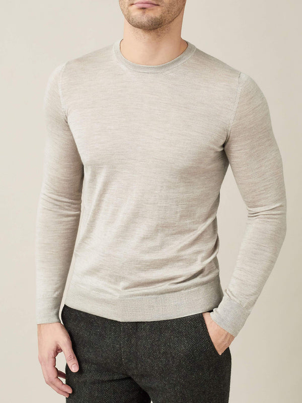 Luca Faloni Oatmeal Fine Silk-Cashmere Crew Neck Made in Italy