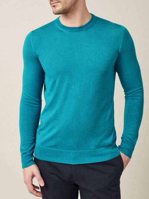 Luca Faloni Turquoise Blue Fine Silk-Cashmere Crew Neck Made in Italy