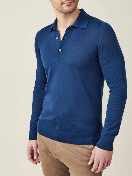 Atlantic Blue Fine Silk-Cashmere Polo