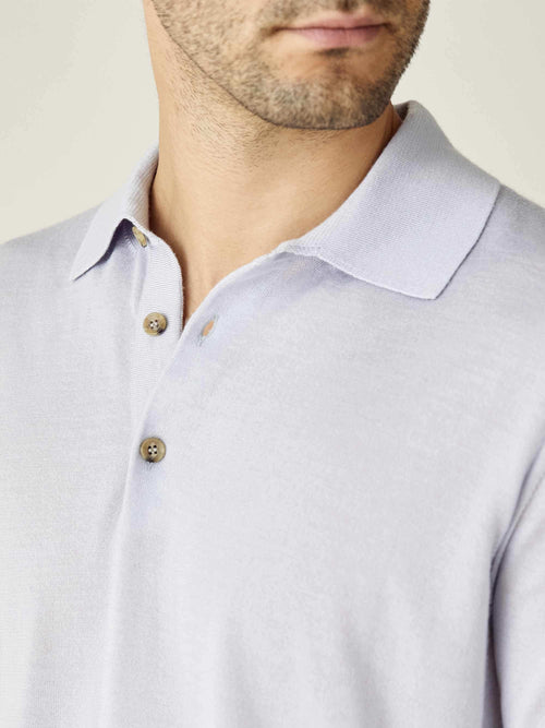 Luca Faloni Ice Grey Fine Silk-Cashmere Polo Made in Italy
