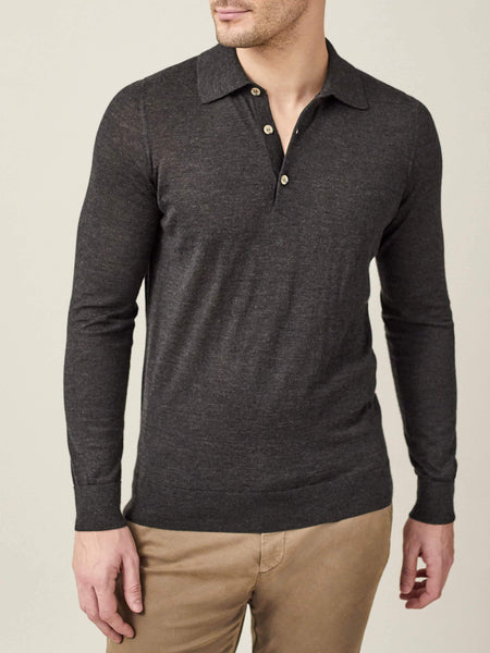 Charcoal Grey Fine Silk-Cashmere Polo