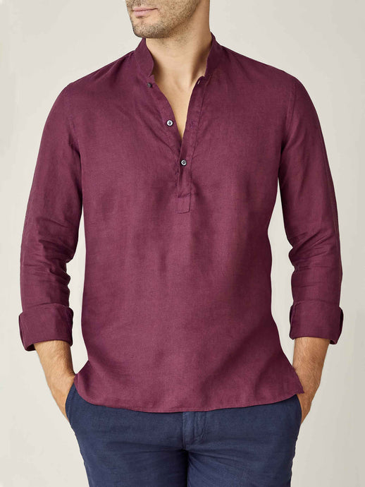 Luca Faloni Burgundy Forte Linen Shirt Made in Italy