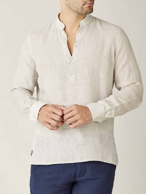 Luca Faloni Sand Forte Linen Shirt Made in Italy