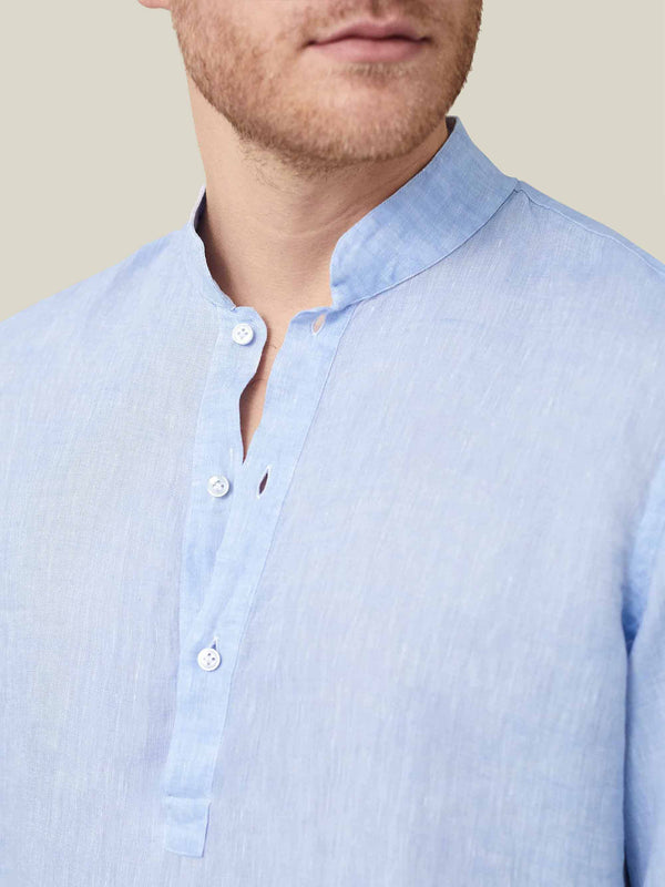 Luca Faloni Sky Blue Forte Linen Shirt Made in Italy