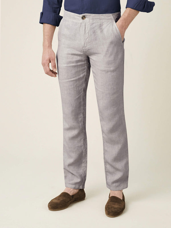 Light Grey Lipari Linen Trousers