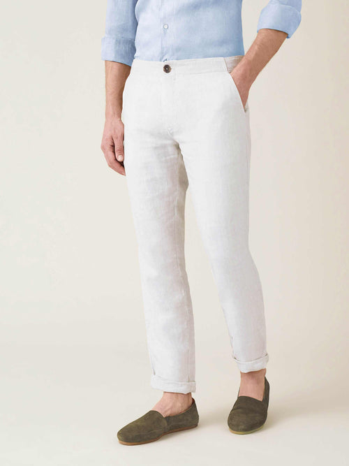 Luca Faloni White Lipari Linen Trousers Made in Italy