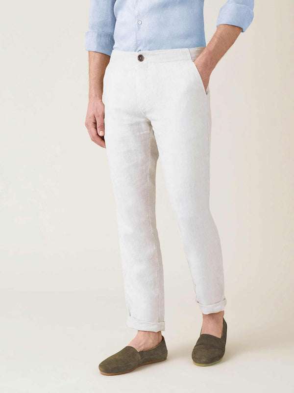 White Lipari Linen Trousers