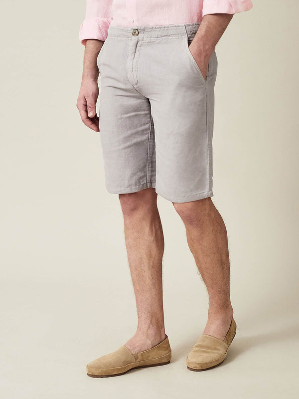 Luca Faloni Light Grey Panarea Linen-Cotton Shorts Made in Italy