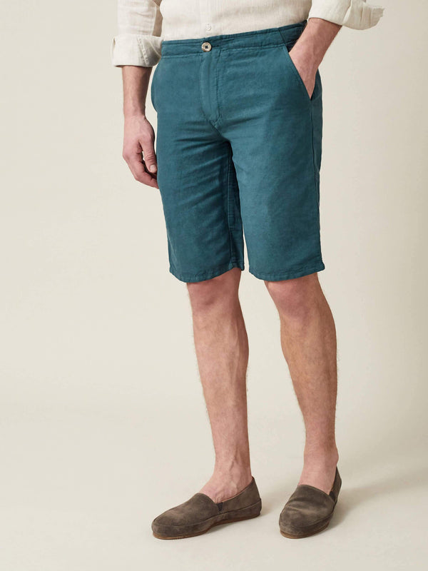 Luca Faloni Marine Green Panarea Linen-Cotton Shorts Made in Italy