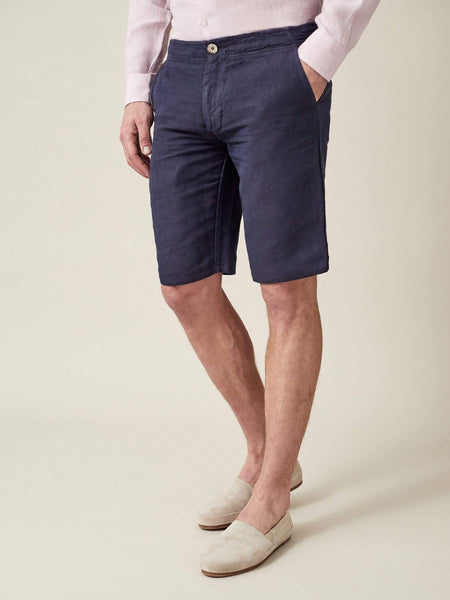Navy Blue Panarea Linen-Cotton Shorts