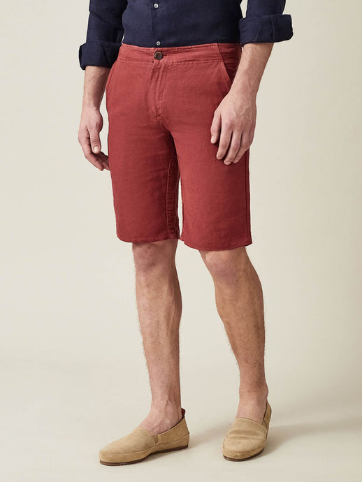 Luca Faloni Red Panarea Linen-Cotton Shorts Made in Italy
