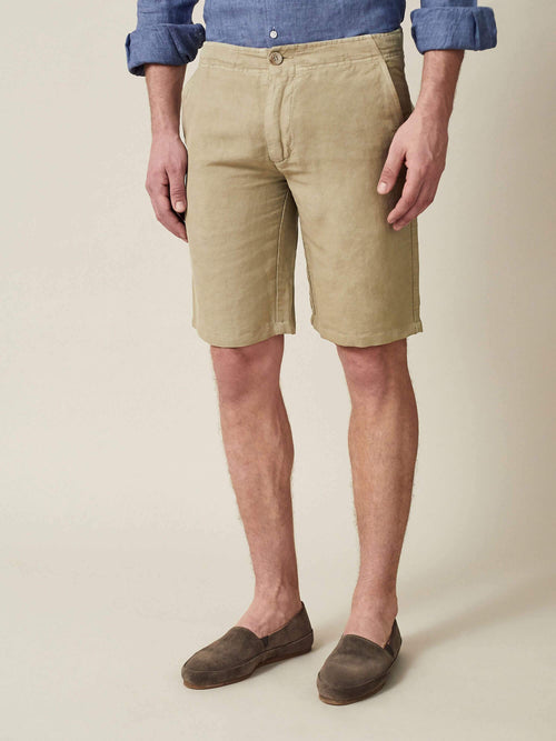 Luca Faloni Sand Panarea Linen-Cotton Shorts Made in Italy