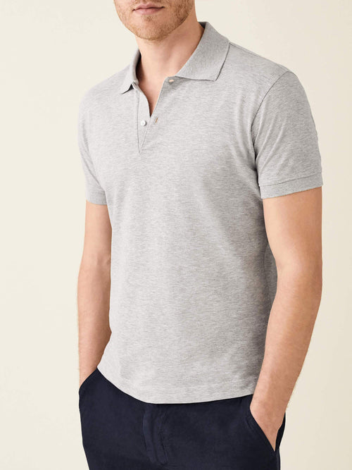 Luca Faloni Light Grey Short Sleeved Polo Made in Italy