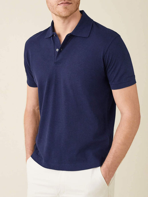 Luca Faloni Navy Blue Short Sleeved Polo Made in Italy