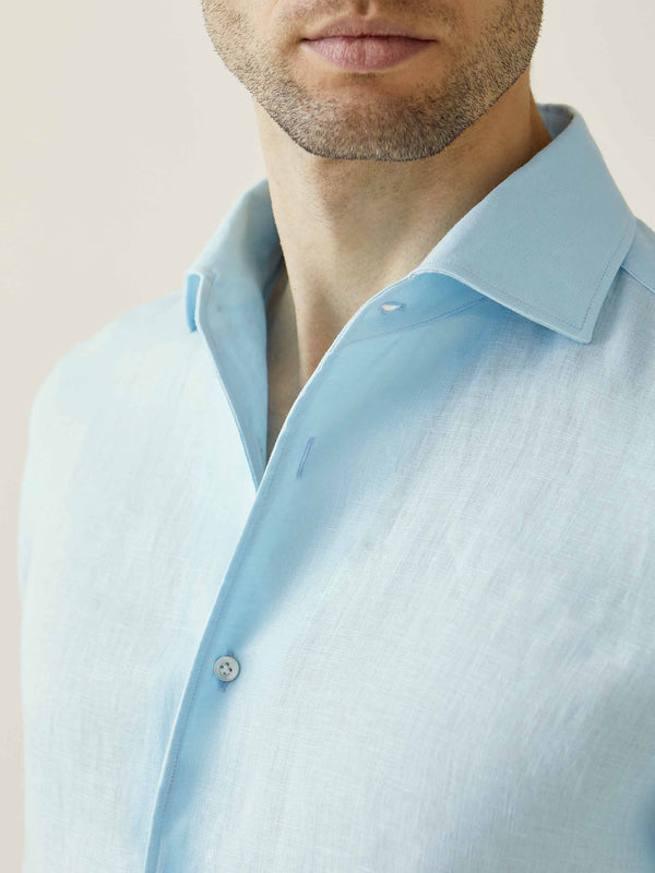 Luca Faloni Aquamarine Portofino Linen Shirt Made in Italy