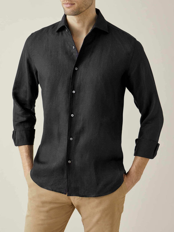 Luca Faloni Black Portofino Linen Shirt Made in Italy