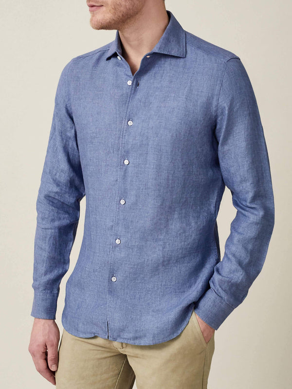 Luca Faloni Chambray Blue Portofino Linen Shirt Made in Italy