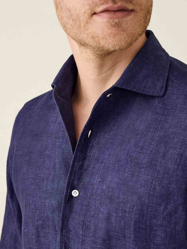 Luca Faloni Navy Blue Portofino Linen Shirt Made in Italy