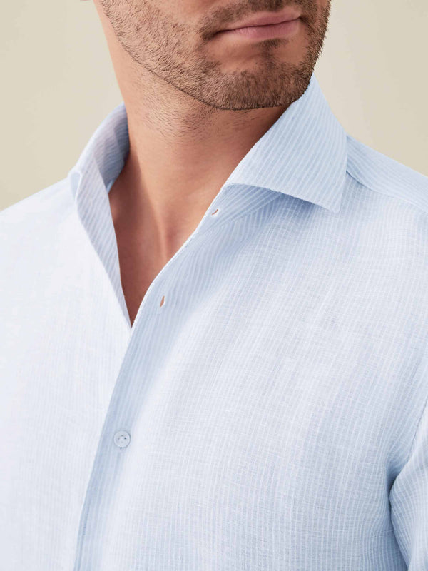 Luca Faloni Striped Portofino Linen Shirt Made in Italy