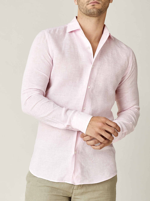 Luca Faloni Pink Striped Portofino Linen Shirt Made in Italy