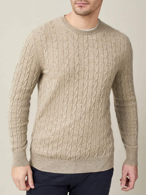 Luca Faloni Camel Beige Pure Cashmere Cable Knit Made in Italy