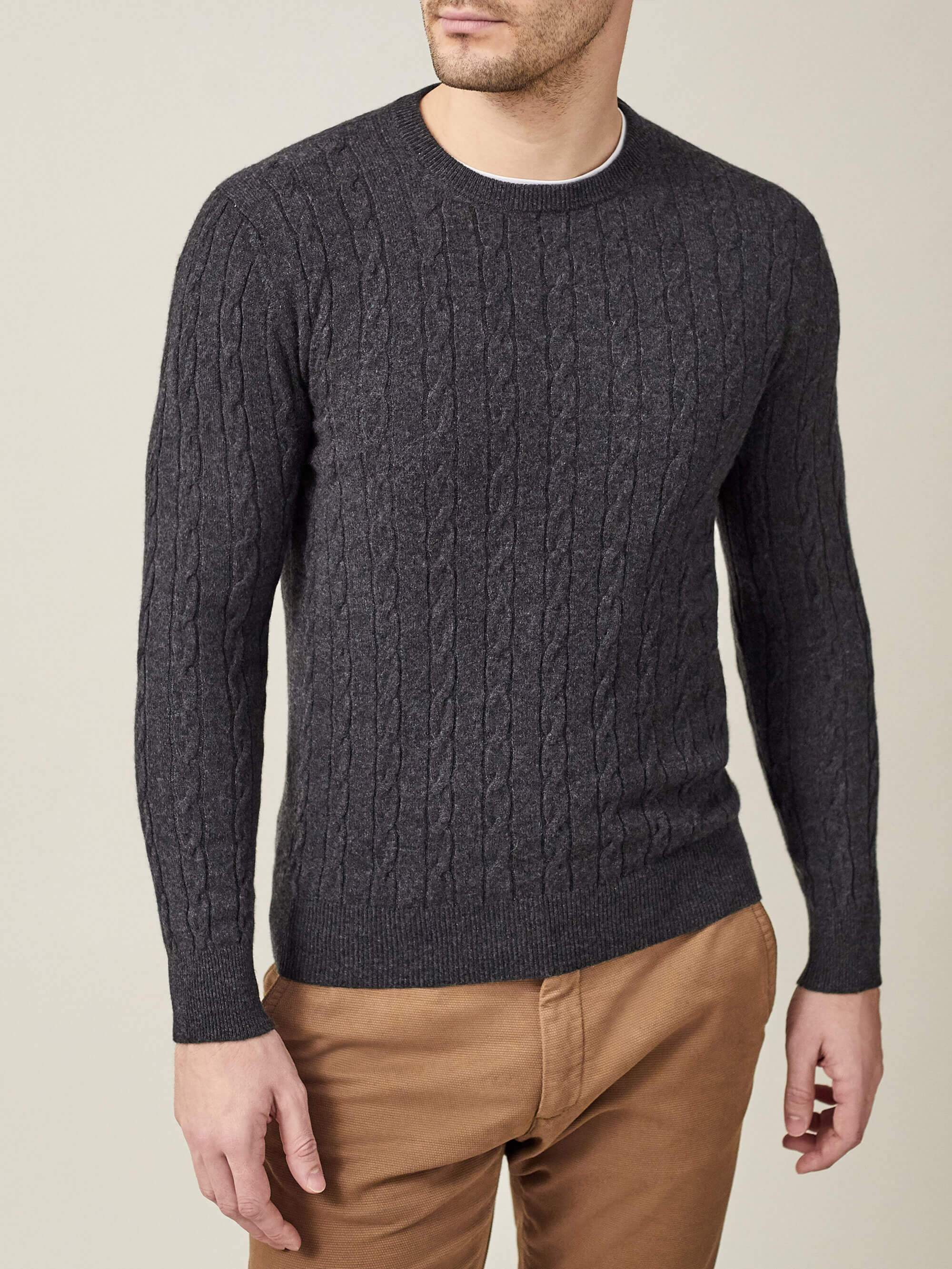 Luca Faloni Charcoal Grey Pure Cashmere Cable Knit Made in Italy