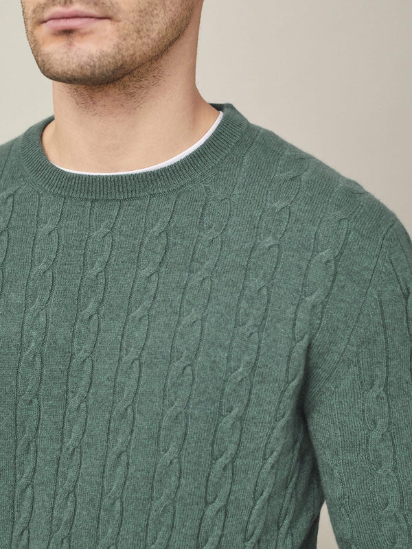 Luca Faloni Marine Green Pure Cashmere Cable Knit Made in Italy