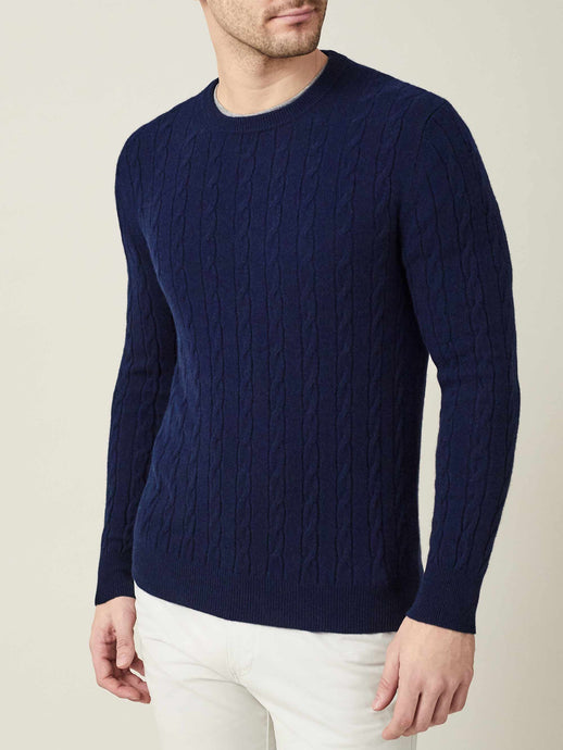 Luca Faloni  Navy Blue Pure Cashmere Cable Knit Made in Italy