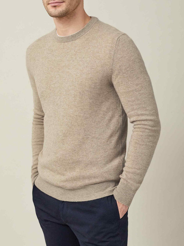 Luca Faloni Camel Beige Pure Cashmere Crew Neck Made in Italy Made in Italy