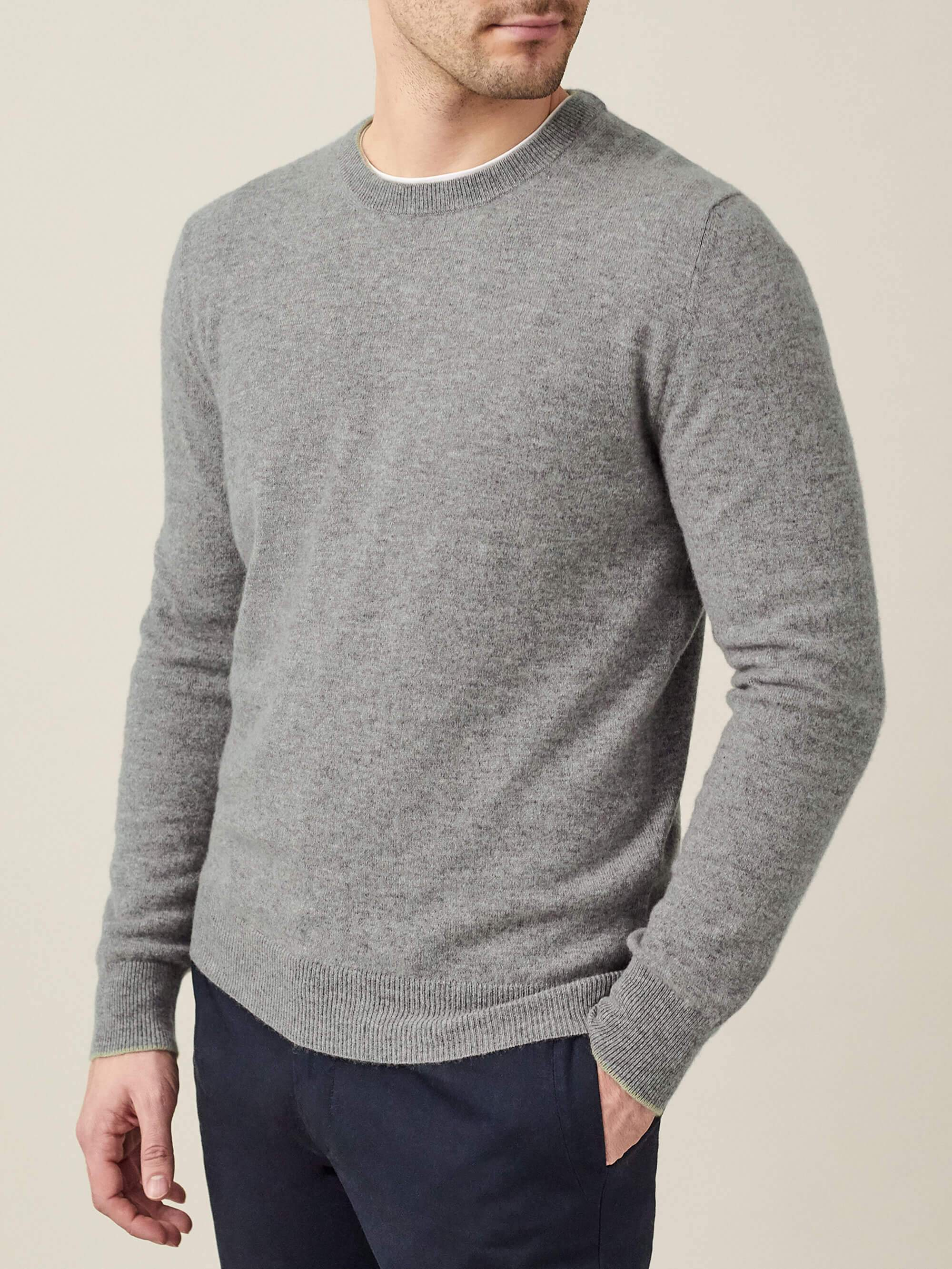 Luca Faloni Light Grey Pure Cashmere Crew Neck Made in Italy
