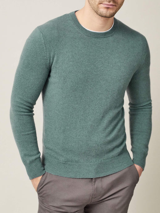 Luca Faloni Marine Green Pure Cashmere Crew Neck Made in Italy
