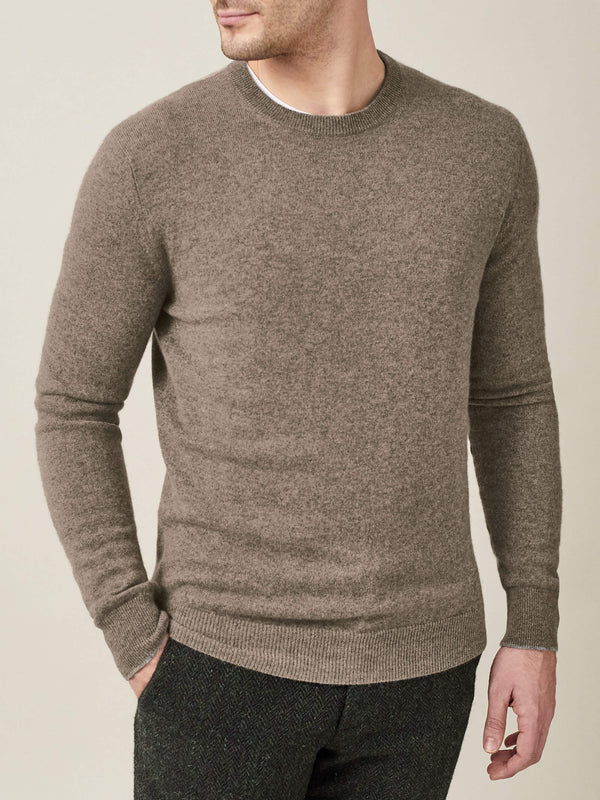 Luca Faloni Nocciola Brown Pure Cashmere Crew Neck Made in Italy