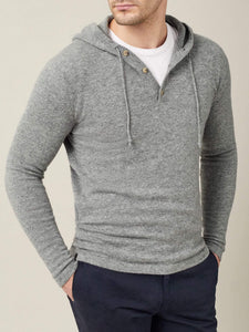 Luca Faloni Dolomiti Grey Pure Cashmere Hoodie Made in Italy