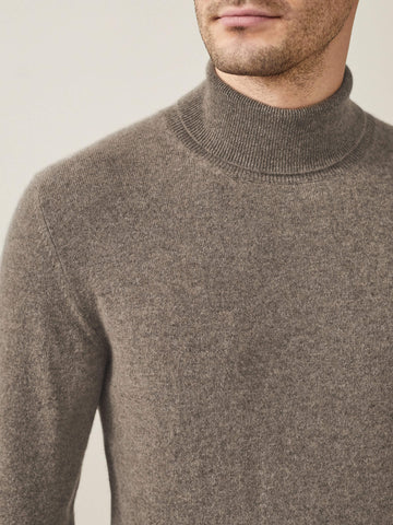 Luca Faloni Nocciola Brown Pure Cashmere Roll Neck Made in Italy