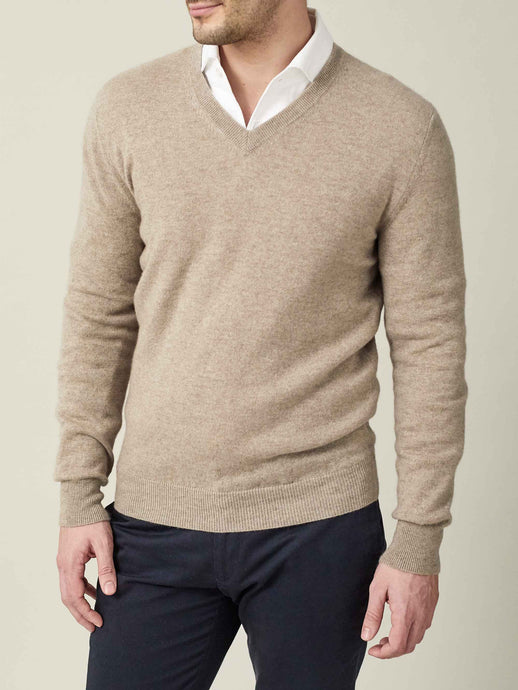 Luca Faloni Camel Beige Pure Cashmere V Neck Made in Italy