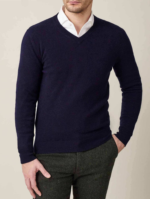Luca Faloni Midnight Blue Pure Cashmere V Neck Made in Italy