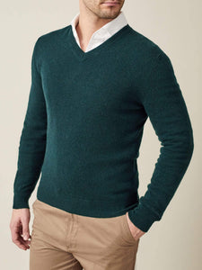 Luca Faloni Forest Green Pure Cashmere V Neck Made in Italy