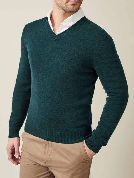 Forest Green Pure Cashmere V Neck
