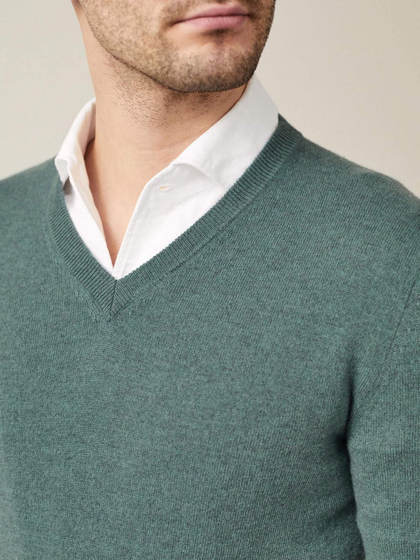 Marine Green Pure Cashmere V Neck