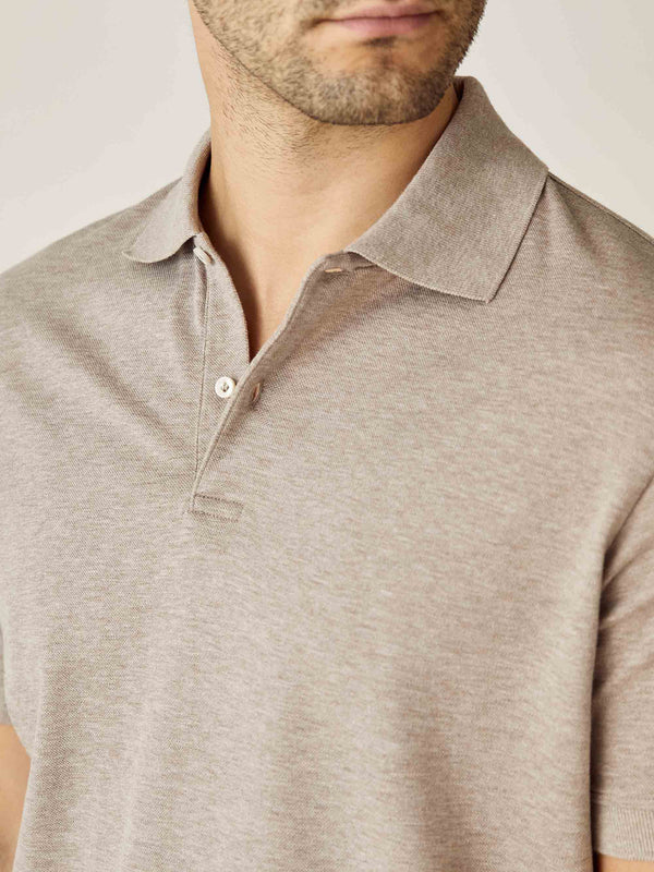 Luca Faloni Oatmeal Short Sleeved Polo Made in Italy