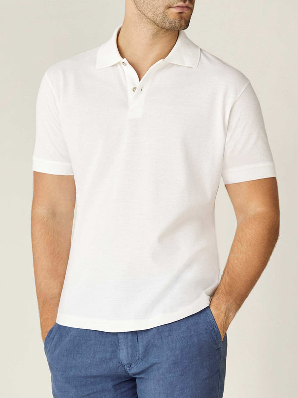 Luca Faloni White Short Sleeved Polo Made in Italy
